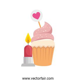 delicious cupcake with candle isolated icon