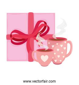 cups coffee with gift box isolated icon