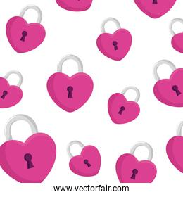 background of padlocks in shape heart icons