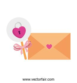 padlock in shape heart in stick with envelope