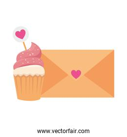 envelope with heart and cupcake isolated icon