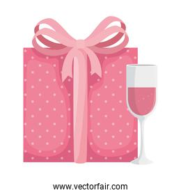 cup champagne with gift box isolated icon