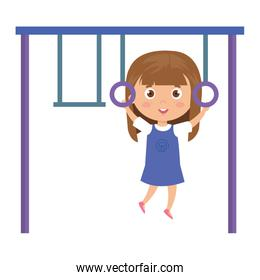 cute girl in park games on white background