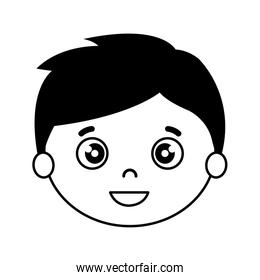 silhouette of head of boy on white background