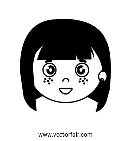 silhouette of head of girl on white background