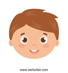 head of boy smiling on white background
