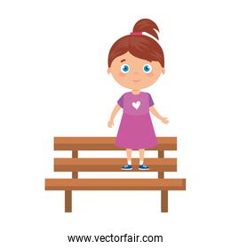 girl on park chair on white background