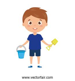 boy with bucket and tools to play on white background