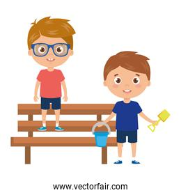 boys with bucket and tools to play in park chair on white background