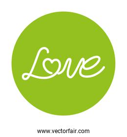 love label on green background