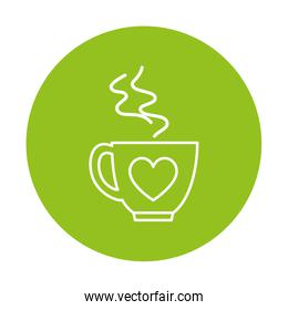 silhouette of cup of coffee on green background