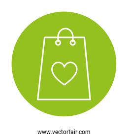 silhouette of shopping bag on green background