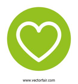 silhouette of heart on green background