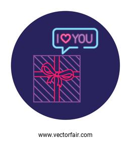 gift box with ribbon in neon light, valentine day