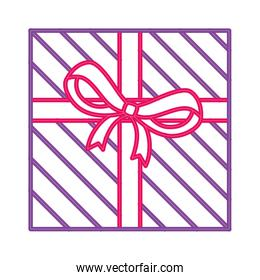 gift box with ribbon in neon light on white background