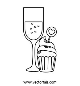 silhouette of cup of glass with cupcake