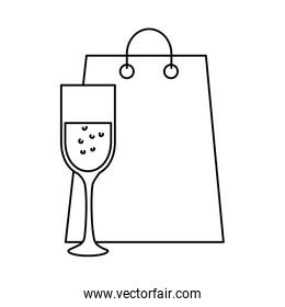 silhouette of cup of glass and bag shopping