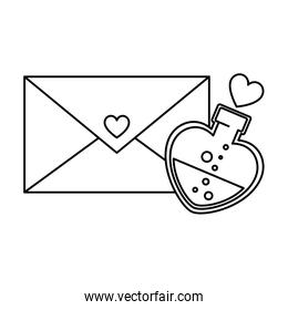 silhouette of envelope closed with fragrance