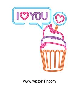 cupcake in neon light on white background