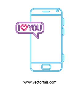 smartphone with speech bubble in neon light, valentines day