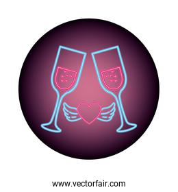 cup of glass in neon light, valentines day