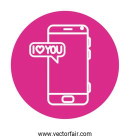 smartphone with speech bubble on pink background