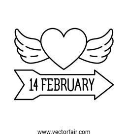 heart with wings on white background