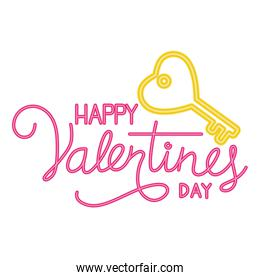 happy valentines day label in neon light