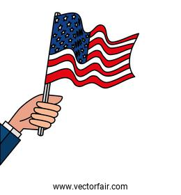 Isolated hand holding usa flag vector design