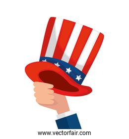 Isolated hand holding usa hat vector design