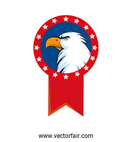 Isolated usa eagle inside seal stamp vector design