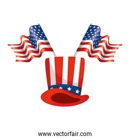 Isolated usa hat and flag vector design