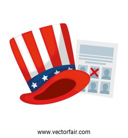 Isolated usa hat and vote paper vector design