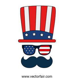 Isolated usa hat glasses and mustache vector design