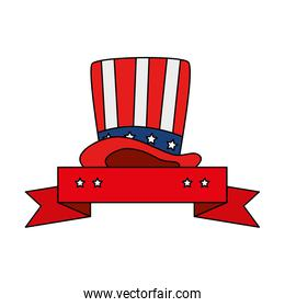 Isolated usa hat and ribbon vector design