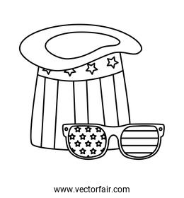 Isolated usa hat and glasses vector design