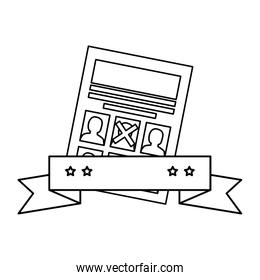 Isolated vote paper and ribbon vector design