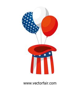 Isolated usa balloons and hat vector design