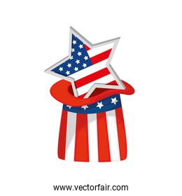 Isolated usa star inside hat vector design
