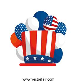 Isolated usa hat and balloons vector design