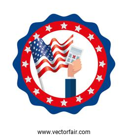 Isolated usa vote paper and flag inside seal stamp vector design