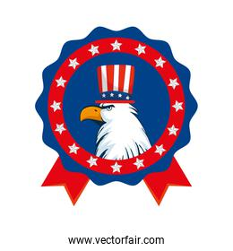 Isolated usa eagle with hat inside seal stamp vector design