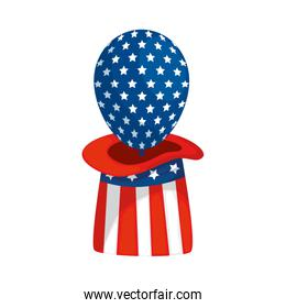 Isolated usa balloon inside hat vector design