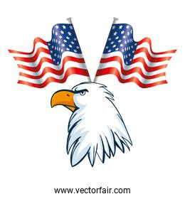 Isolated usa eagle and flags vector design