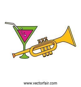 Isolated trumpet instrument and cocktail vector design