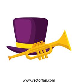 Isolated trumpet instrument and hat vector design