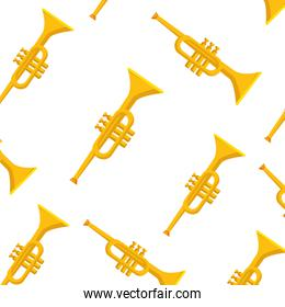 Isolated trumpet instrument background vector design