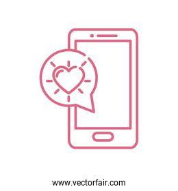 Isolated heart inside bubble and smatphone vector design