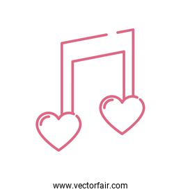 Isolated hearts music note vector design