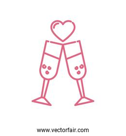 Isolated champagne cups and heart vector design